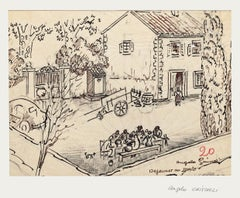 Lunch in The Countryside - Original Drawing by Angelo Griscelli - 20th Centrury