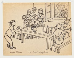 Figures - Original Ink and Pencil on Paper by Angelo Griscelli - 20th Century