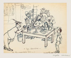Figures - Original Ink Drawing on paper by Angelo Griscelli - 20th Century