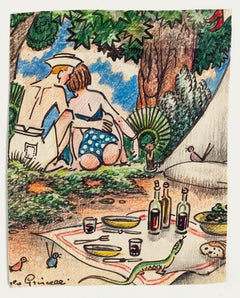 Picnic - Original Drawing by Angelo Griscelli - 20th Century