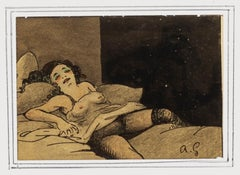 Nude - Original Drawing by Angelo Griscelli - Mid-20th Century