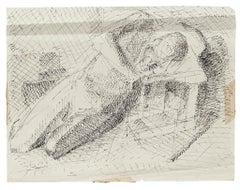 Nude - Original Pen Drawing by Dansac - 1960 ca.