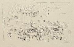 Market - OriginalPen Drawing by Dansac - 1960 ca.