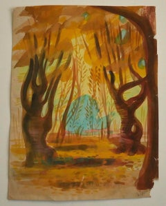 In the Wood - Original Watercolor by Jean Delpech - Mid-20th Century