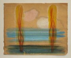 Landscape - Original Watercolor by Jean Delpech - Mid-20th Century
