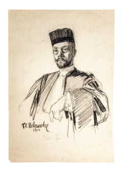 Portrait - Original Drawing in Pencil by Paul Charles Delaroche - 1910