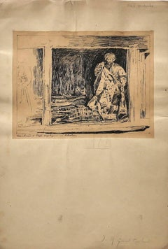 Merchant - Original Drawing in Pen by Jean Albert Grand-Carteret - 20th Century