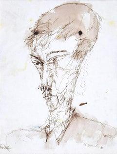 Portrait - Original Pen and Watercolor by Sergio Barletta - 1960