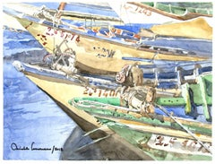 Boats - Original Watercolor by Michele Cascarano - 2010s