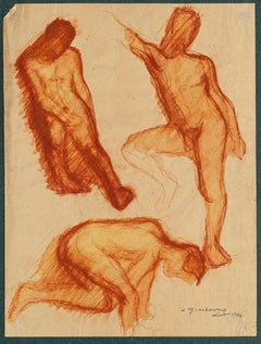Male Nudes - Original Drawing on Paper by D. Ginsbourg - 1921
