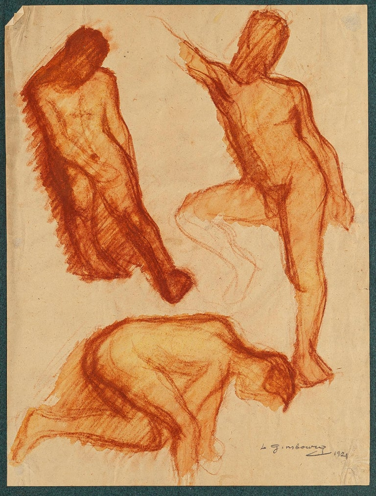 Male Nudes - Original Drawing on Paper by D. Ginsbourg - 1921 - Art by Daniel Ginsbourg