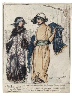 Elegant Ladies - Original Watercolored Ink by Luigi Bompard - 20th Century