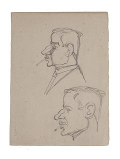 Figure - Original Pencil Drawing by Gabriele Galantara - 19th Century
