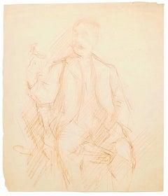 Portrait of Man - Original Sanguine Drawing - 19th Century