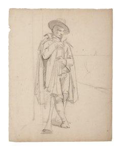Musician - Original Pencil Drawing - 19th Century