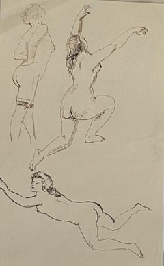 Figures Studies - Original China Ink Drawing - Early 20th Century