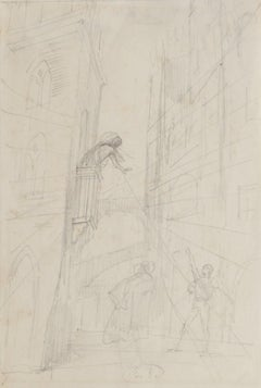 Theatrical Scene - Original Pencil Drawing by Eugène Berman - Mid-20th Century