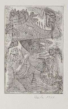Landscape - Original Etching by Ursula Stock - 1964