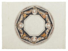 Ceiling Decoration - Original Ink and Watercolor - 18th Century