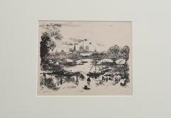 Paris Landscape - Original Etching by Eugène Bléry - 1838