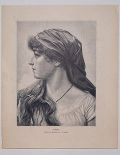 Woman's Face - Original Zincography after Frantisek Zenisek by E. Krell - 1905