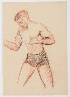 Boxer - Original Drawing In Pencil and Pastel by Adrienne Jouclard - 1950s