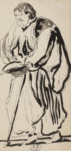 Theatrical Figure - Ink and Watercolor Drawing by Eugène Berman - 1950s