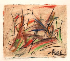 Composition - Original Mixed Media by Edgar Stoebel - 1960s