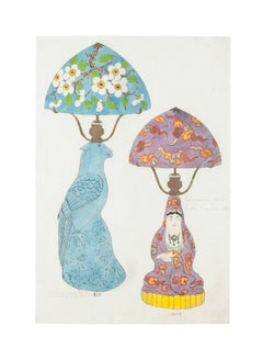 Oriental Lamps - Original Watercolor and Ink Drawing - 19th Century