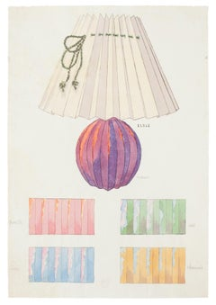 Table lamp - Original Watercolor and Ink Drawing - 19th Century