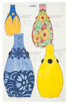 Colored Vases - Original Watercolor and Ink Drawing - 19th Century