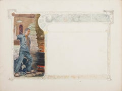 Glassblower - Original Mixed Media Drawing - Early 20th Century
