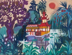 Tropical Landscape - Original Watercolor Drawing by Jean Delpech - 1960s
