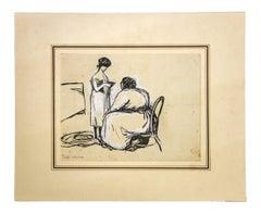 Nell'Alcova - Original Mixed Media on Cardboard by Gabriele Galantara - 1902 ca.