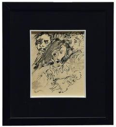 The Sorceress - Original Drawing by Mino Maccari - 1960s