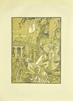 The Carriers of the Amphorae - Original Lithograph by F. Bac - 1922