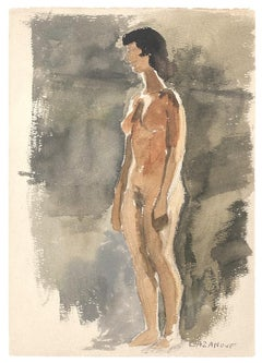 Figure - Original Watercolor on Paper by R. Cazanove - 1922