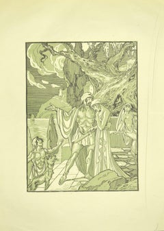 The Couple - Original Lithograph by F. Bac - 1922