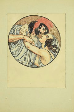 The Greek Kiss - Original Drawing by F. Bac - 1923