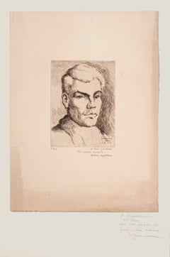 Portrait of Pierre Guastalla - Original Etching by Halman Hagelstam - 1926