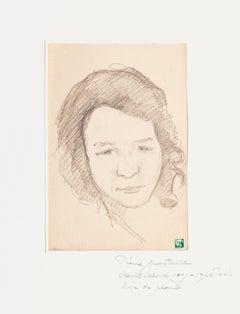 Portrait - Original Pencil Drawing by Pierre Guastalla - 20th Century