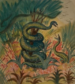 Snakes in the Forest - Original Watercolor by Jean-Raymond Delpech - 1944