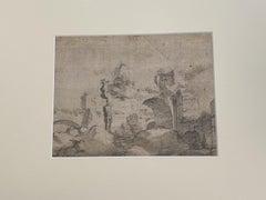 Roman Ruins - Original Pencil on Cardboard - 18th Century