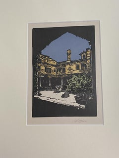 Lungotevere in Rome - Original Woodcut by A. Rossini - Early 20th Century