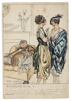 Bourgeoisie - Original Watercolored Ink by Luigi Bompard - 1905