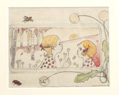 The Girls - Original Pencil and Watercolor - 1940 ca.