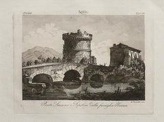 Ponte Lucano - Original Etching by L.Cavalieri - 19th Century