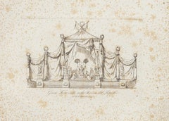 Project for the Throne  - Original Etching by Nicola Carnevali - 19th Century