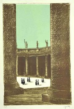 St. Peter's Square - Original Lithograph by Fabio Failla - 1980s