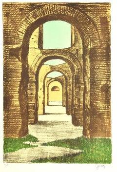 Baths of Caracalla - Original Lithograph by Fabio Failla - 1980s